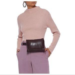 NEW Mansur Gavriel Pink Ribbed Funnel Neck Sweater